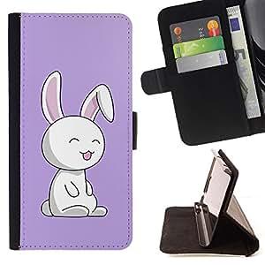 For Samsung Galaxy S6 EDGE - Cute Puprle Bunny Rabbit /Funda de piel cubierta de la carpeta Foilo con cierre magn???¡¯????tico/ - Super Marley Shop -
