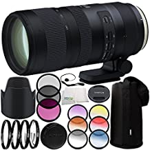 Tamron SP 70-200mm f/2.8 Di VC USD G2 Lens for Canon EF 11PC Accessory Bundle - Includes 3 Piece Filter Kit (UV + CPL + FLD) + 4PC Macro Filter Set (+1,+2,+4,+10) + MORE