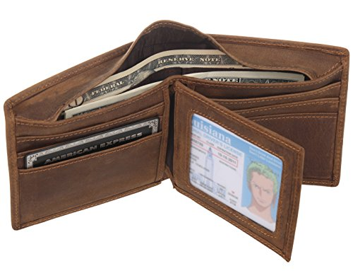 - Polare Men's Full Grain Leather Bifold Wallet– Classic Style - Extra Capacity (Gift Box included)