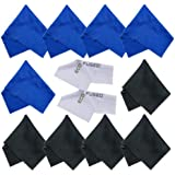 Microfiber Cleaning Cloths 12 Pack for use with Cell Phone, Tablets, Laptops, Glasses, Lenses and Other Delicate Surfaces - One Year Guarantee (blue / black)