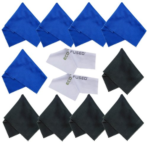 Price comparison product image Microfiber Cleaning Cloths 12 Pack for use with Cell Phone, Tablets, Laptops, Glasses, Lenses and Other Delicate Surfaces - One Year Guarantee (blue / black)