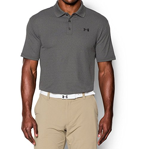 Under Armour Men's Performance Polo, Carbon Heather (090)/Black, Medium (Dry Sport Performance Polo)