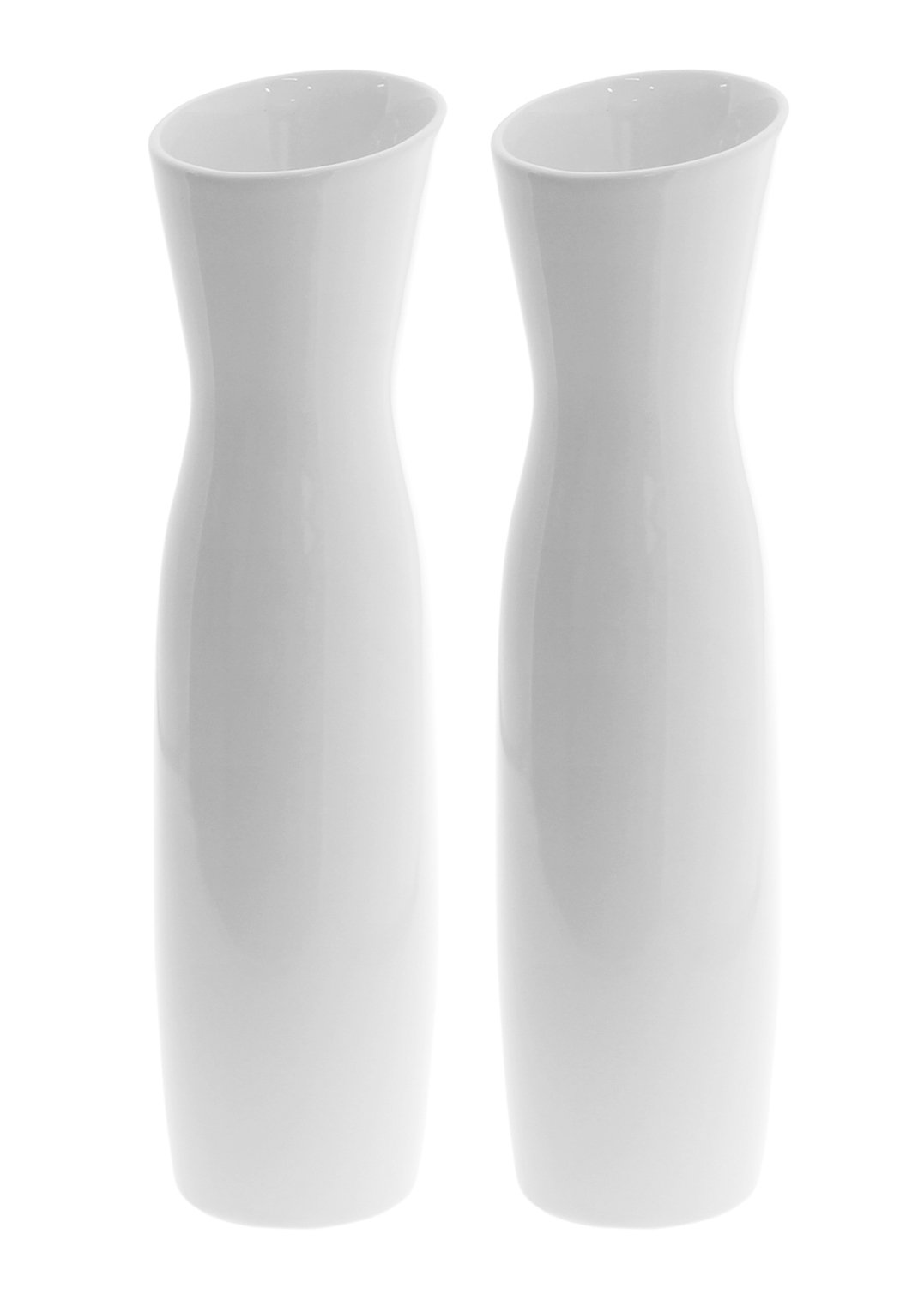 "JustNile 11.8 "" Tall Modern Elegant Looking Decorative Vases Ideal For Wedding Parties Receptions Centerpiece, Front Porch Living Room Kitchen Home Décor - Set of 2, White - [ Elegant, Minimalist Tulip Looking Vase ] - Classic, modern simplistic design, the flower petal opening makes this set easy to use and a great presentation to be displayed on your tabletop. [ Smooth, Clean Finish ] - To distinct from the ordinary vases on the market, we've made these elegant, smoothly finished vases for you to decorate your beloved bouquet or a single rose for your beloved ones. [ Quality Purchase For the Perfect Quantity ] - With this purchase, you do not only get one, but TWO identical modern, classic smoothly made vases. It's always nice to have a pair of vases for your home décor. - vases, kitchen-dining-room-decor, kitchen-dining-room - 51AYfNe9jfL -"