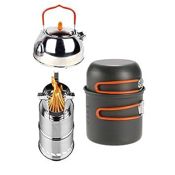 Utensilios de cocina para acampar, tetera de acero ...
