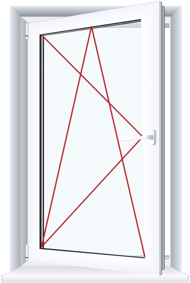 Glas:3-Fach BxH:900x800 Drutex Kunststofffenster wei/ß Dreh Kipp Anschlag:DIN Links