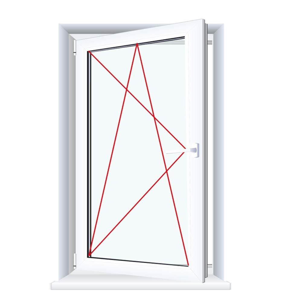 BxH:700x1200 Drutex Kunststofffenster wei/ß Dreh Kipp Anschlag:DIN Links Glas:3-Fach