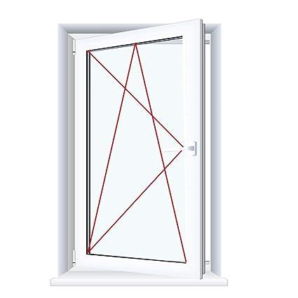 Glas:2-Fach BxH:600x700 Drutex Kunststofffenster wei/ß Dreh Kipp Anschlag:DIN Rechts