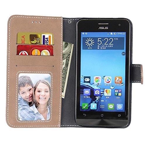 YHUISEN Estilo retro de color sólido Premium PU cuero de la cartera de la caja Flip Folio cubierta de la caja protectora con ranura para tarjeta / Stand para Asus ZenFone 2 5,5 pulgadas ( Color : Brow Beige