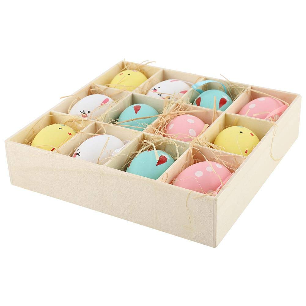 for Kids Plastic Easter Eggs,Bewinner 12pcs Easter Egg with Wood Box,Fine Pattern,Hanging Rope Makes Easy for Children to Hang on Hands Also a Perfect Decoration for Easter