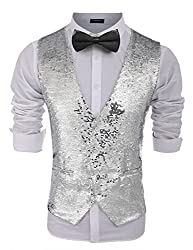 Men's Slim Fit Sequins V-Neck Vest