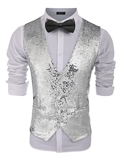 COOFANDY Men's Fashion Shiny Sequins Vests Halloween Christmas