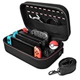 Nintendo Switch Carrying Case - Hestia Goods Portable Travel All Protective Hard Messenger Bag Soft Lining 18 Games for Switch Console Pro Controller & Accessories,Black