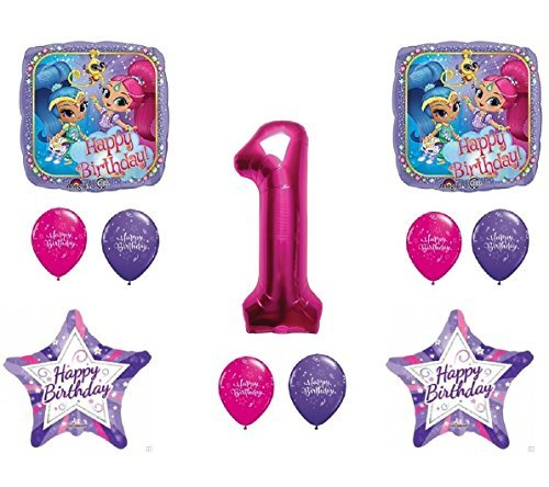 (SHIMMER AND SHINE 1st First HAPPY Birthday Party Balloons Decoration Supplies Genie)
