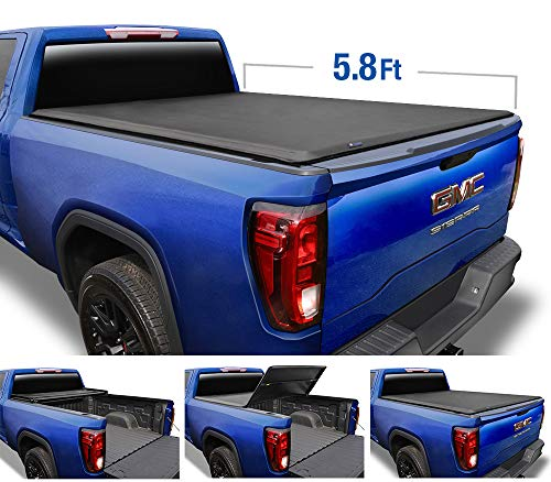 Tyger Auto (Soft Top T3 Tri-Fold Truck Tonneau Cover TG-BC3C1053 for 2019 Chevy Silverado/GMC Sierra 1500 New Body Style (Incl. Denali) | Fleetside 5.8