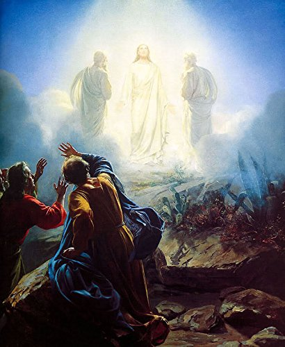 100% Hand Painted Apparitions of Jesus with Christians in field Canvas Wall Art Oil Painting by Well Known Artist, Framed, Ready to Hang by Oilpaintings-Heaven