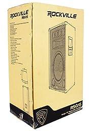 """Package: (2) Rockville RSG-15 Single 15"""" Three-Way 3000 Watt Peak/1500 Watt RMS Pro Audio Passive Loudspeakers + Pair of Heavy Duty Adjustable Pro PA Speaker Stands + (2)1/4\"""