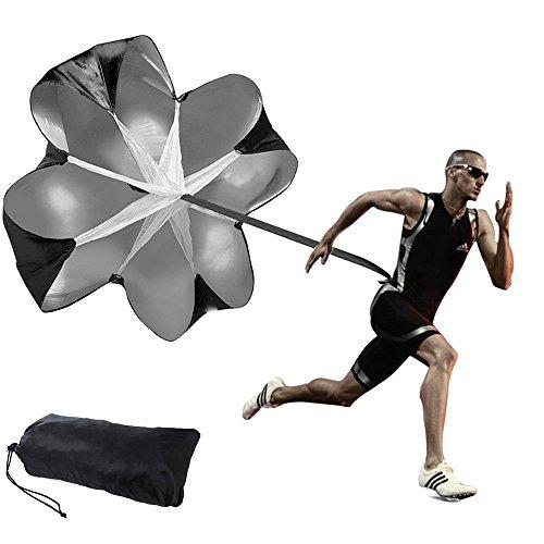 Chuangxiangt Running Parachute Speed Resistance Training Chute Adjustable Strap Sprint, Running, Football & Soccer Drilling (56 inch, Black)