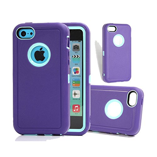 iPhone 5c Case, Harsel Shock Absorbing Tough Rugged Defender Series Heavy Duty High Impact Scratch Resistant Case with Belt Clip Built-in Screen Protector Cover Shell for Apple iPhone 5c (Purple Blue)