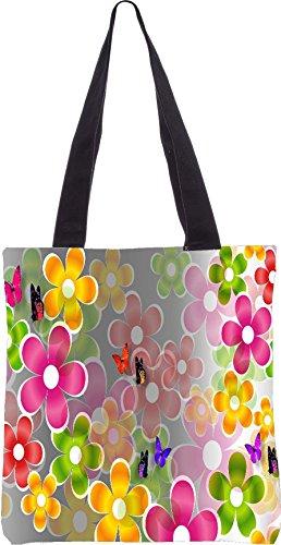 Snoogg bunten Gänseblümchen und Schmetterlingen 2662 13,5 x 15 Zoll-Shopping-Dienstprogramm-Einkaufstasche aus Polyester-Segeltuch gemacht