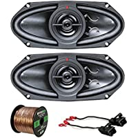 Car Speaker Package Of 2x Kenwood KFC415C 320 Watt 4x10 160W Black Performance Series Coaxial Speakers - Bundle Combo With 2x Speaker Adaptors For select 1988-up GM vehicles + Enrock 50Ft 16G Wire