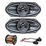 Car Speaker Package Of 2x Kenwood KFC415C 320 Watt 4x10'' 160W Black Performance Series Coaxial Speakers - Bundle Combo With 2x Speaker Adaptors For select 1988-up GM vehicles + Enrock 50Ft 16G Wire