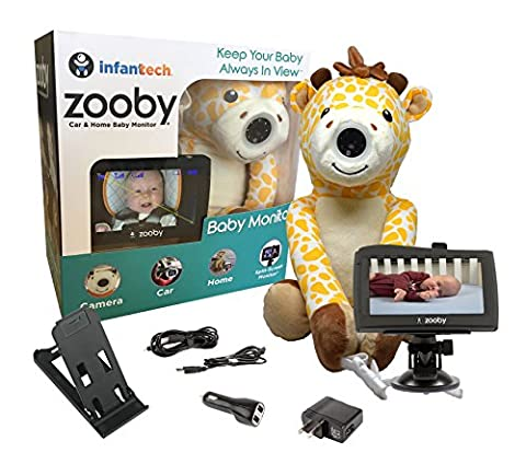 """Infanttech Wireless Zooby 4.3"""" Portable Video and Audio Baby Monitor for Car, Home, Nursery, Backyard – Hidden in a Cuddly Plush Toy Kids Love, Gives You Eyes in the Back of Your Head, (Car Audio / Video Accessories)"""