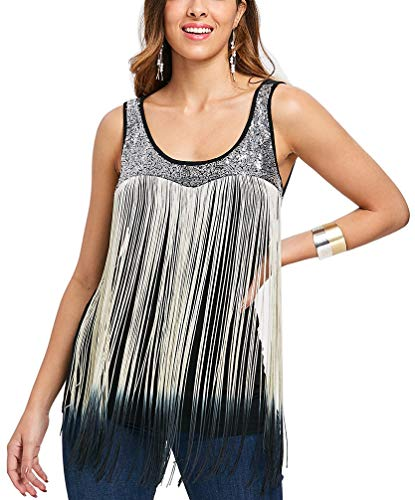 f3837c3402f Women s Summer Sequined Tank Top with Spaghetti Strap Fringe Cami Shirts  Fringed