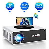 Projector, WiMiUS K3 7200 Lux WiFi Projector Native 1920×1080 Indoor and Outdoor Projector Support 300″ Display Netflix Dolby Works with Fire TV Stick PC DVD PS4 Smartphones (White)