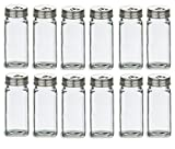 Nakpunar 12 pcs 4 oz French Square Glass Spice Jars with Stainless Steel Caps - Shaker Fitmens and Caps (12, 4 oz Stainless Steel)