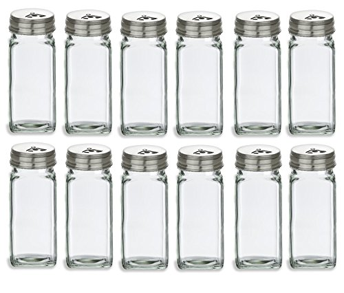Nakpunar 12 pcs 4 oz French Square Glass Spice Jars with Stainless Steel Caps - Shaker Fitmens and Caps (12, 4 oz Stainless Steel) by Nakpunar