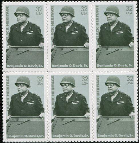 BRIG. GEN. Benjamin O. Davis, Sr ~ Army ~ Black Heritage ~ Black History #3121 Block of 6 x 32 Cents US Postage Stamps