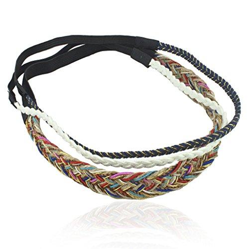 Lux Accessories Gay Pride Rainbow Woven Suede Braid Braided Stretch Headband Head Band 3 Pc Set
