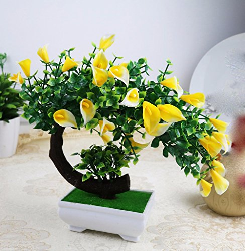 Situmi Artificial Fake Flowers Plastic Green Plants Bonsai Tree Desktopdecor, Yellow 3528cm ()