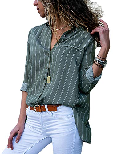 HOTAPEI Juniors Casual V Neck Striped Button Up Chiffon Blouses for Women Fashion 2018 Long Sleeve Work Tops Shirts Olive Green and White Large