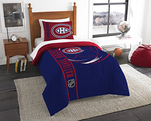 The Northwest Company Officially Licensed NHL Montreal Canadiens Draft Twin Comforter and Sham Set, Red/Blue (Bedding Montreal)