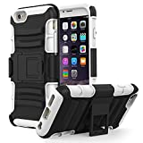 MoKo Case for iPhone 6 Plus / 6S Plus - Full Body Rugged Holster Case with Swivel Belt Clip - Dual Layer Shock Resistant Cover for Apple iphone 6 Plus (2014) / 6s plus (2015) 5.5 Inch, WHITE