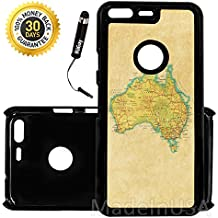 Custom Google Pixel Case (Vintage Map of Australia) Edge-to-Edge Plastic Black Cover Ultra Slim | Lightweight | Includes Stylus Pen by Innosub