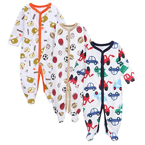 Exemaba Baby Footed Pajamas - 3 Packs Infant Newborn Long Sleeve Rompers Sleeper for Boys Girls
