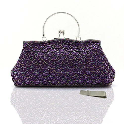 Taidaf Evening Handbags for Women,Large Sequins Vintage Clutches Party Prom Cocktail Evening Bags(purple)