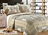 Oversized King Comforters 120x120 ALL FOR YOU 3-Piece Reversible Bedspread/Coverlet / Quilt Set-Beige, tan, Pink, Burgundy and Gray Green sage Prints (Oversized King 110