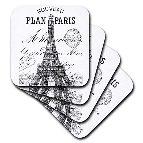 3dRose Nouveau Paris Vintage Eiffel Tower - Soft Coasters, Set of 8 (CST_110389_2)
