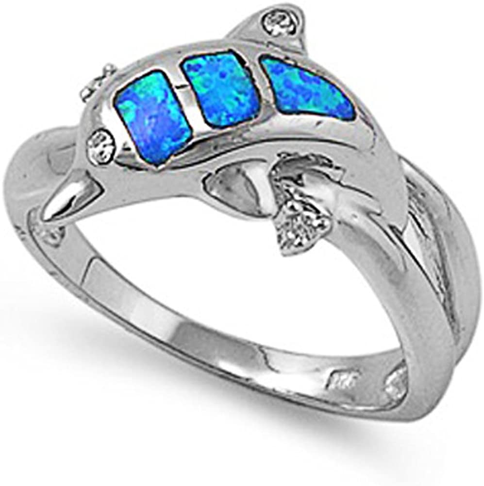 Little Treasures chapado en rodio de plata de ley boda o en mesas de anillo de compromiso con piedra azul de ópalo, transparente CZ anillo de delfín 11 mm