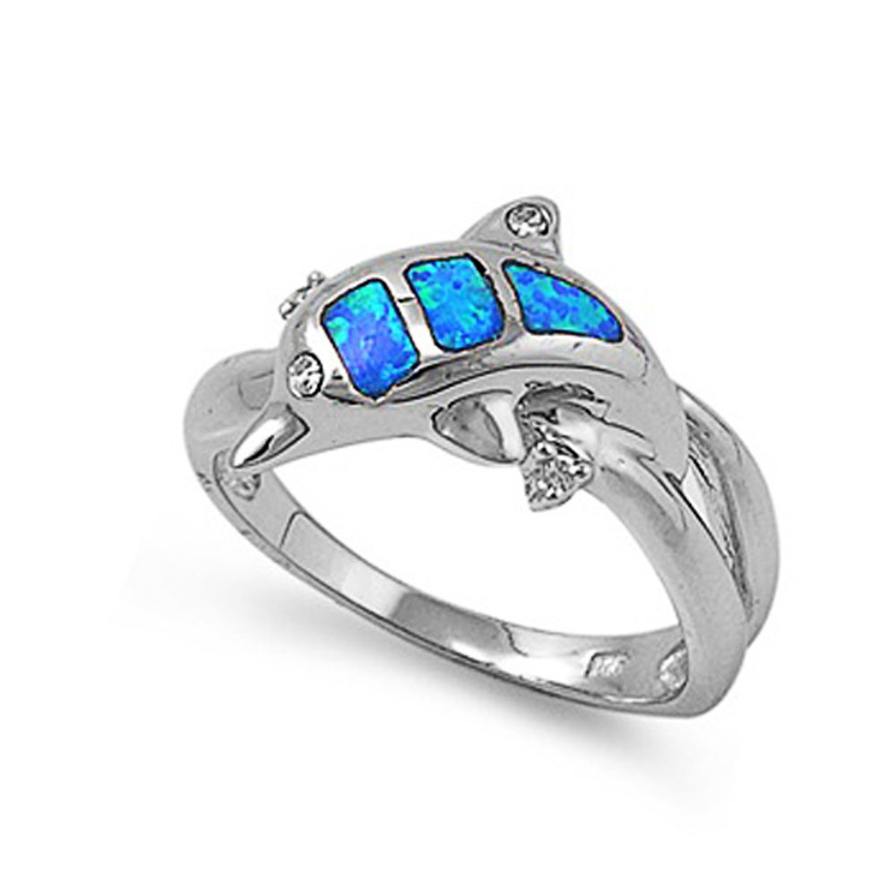 Sterling Silver Simulated Blue Opal Dolphin Ladies Ring 11mm ( Size 5 to 9 ), 6