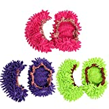 3Pairs Multifunctional Washable Chenille Fibre House Floor Cleaning Dust Mop Slippers Foot Socks Mop Shoes Cover Floor Dust Dirt Hair Cleaner Shoes Green-Fuxia-Purple three colors (Multicolor)