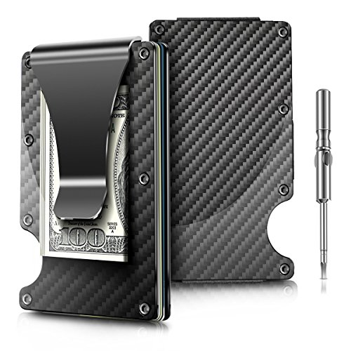 2018 Upgraded Version Minimalist Carbon Fibre Slim Wallet , Slim Wallet & RFID Blocking Front Pocket Wallet,Minimalist Wallet for Men And (Carbon Fiber Laptop Case)