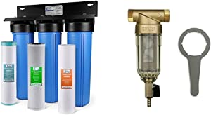 iSpring WGB32BM 3-Stage Whole House Water Filtration System w/ 20-Inch Big Blue Sediment, Carbon Block & Reusable Whole House Spin Down Sediment Water Filter with Siliphos, Multiple Micron Sizes