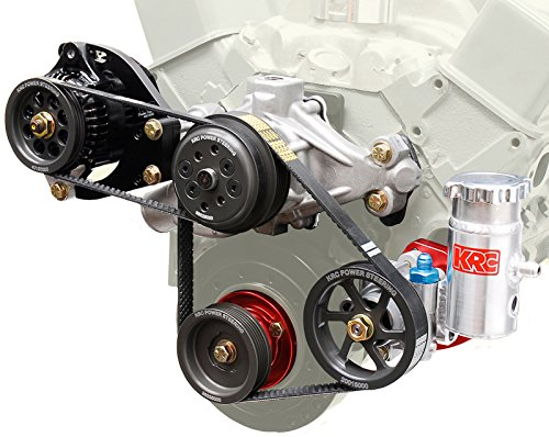 NEW SMALL BLOCK CHEVY SERPENTINE FRONT ENGINE KIT WITH 1 TO 1 PULLEYS, DENSO ALTERNATOR AND BRACKET, WATER PUMP, POWER STEERING PUMP, RESERVOIR, AND BLOCK MOUNT BRACKET ()