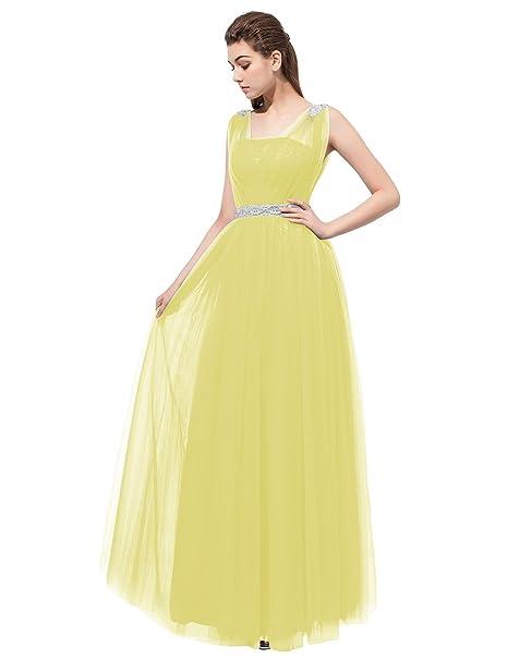 Dresstells reg;Vestido De Mujer Largo Fiesta Madrina Dama De Honor Sin Mangas Amarillo 32