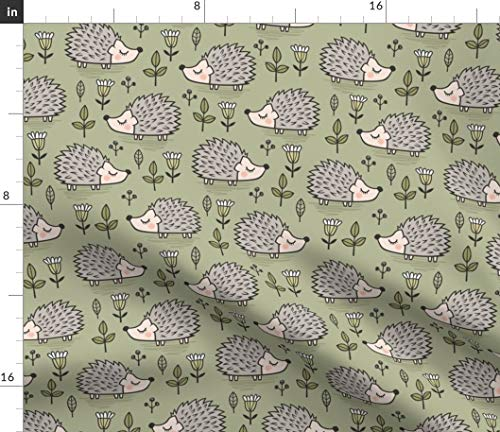 Hedgehog Fabric - with Leaves Flowers Olive Green Woodland Hedgehogs Forest Fall Autumn Print on Fabric by The Yard - Lightweight Cotton Twill for Sewing Bottomweight Fashion Apparel Home Decor