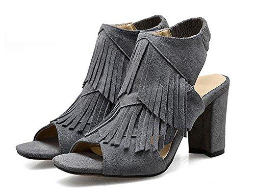 GLTER Mujeres Peep Toe tobillo Strap bombas de tacón alto femenino de piel de borlas de borla sandalias Mules grey